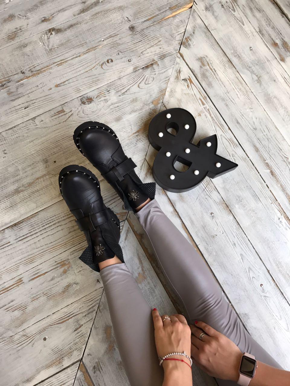 Купить со скидкой Ботинки женские кожа мех