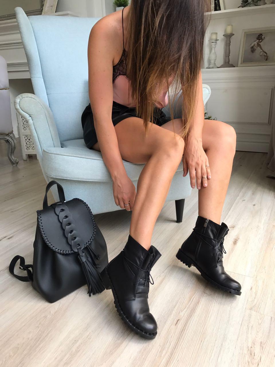 Купить со скидкой Ботинки женские кожа байка