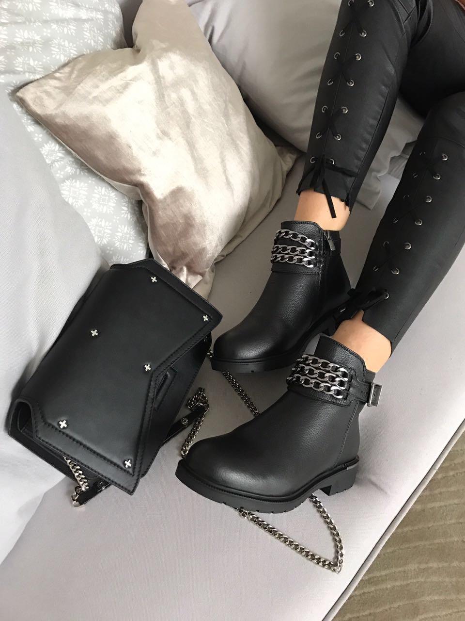 Фото #1: Ботинки женские кожа байка